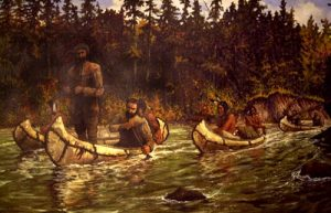"""French Trappers on The Red Cedar"" by Cal Peters"