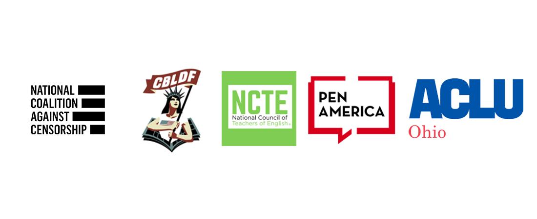 NCAC CBLDF NCTE PEN ACLU Ohio logos