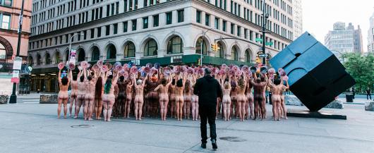 Spencer Tunick arranges nude models in front of Facebook headquarters